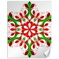 Red And Green Snowflake Canvas 18  x 24