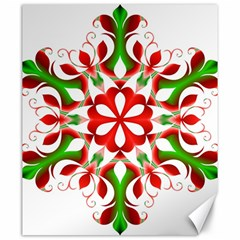Red And Green Snowflake Canvas 20  X 24