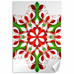 Red And Green Snowflake Canvas 20  X 30