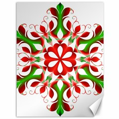 Red And Green Snowflake Canvas 36  x 48