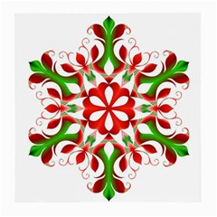 Red And Green Snowflake Medium Glasses Cloth (2-Side)
