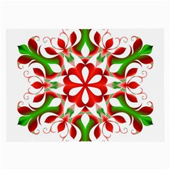 Red And Green Snowflake Large Glasses Cloth (2-Side)
