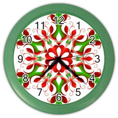 Red And Green Snowflake Color Wall Clocks