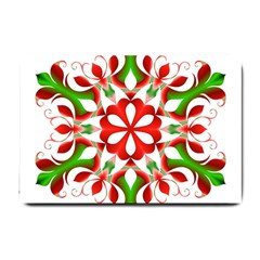 Red And Green Snowflake Small Doormat