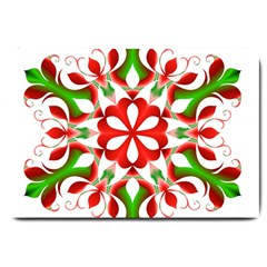 Red And Green Snowflake Large Doormat