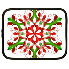 Red And Green Snowflake Netbook Case (large)