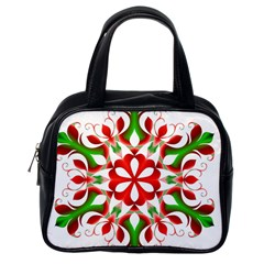 Red And Green Snowflake Classic Handbags (one Side)