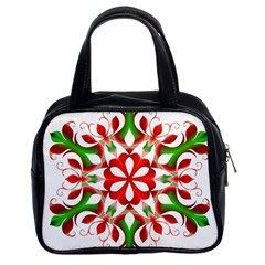 Red And Green Snowflake Classic Handbags (2 Sides)