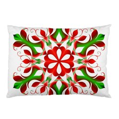 Red And Green Snowflake Pillow Case
