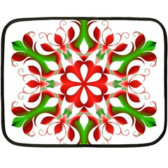 Red And Green Snowflake Fleece Blanket (Mini)