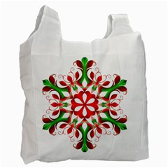 Red And Green Snowflake Recycle Bag (Two Side)