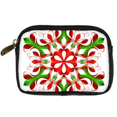 Red And Green Snowflake Digital Camera Cases