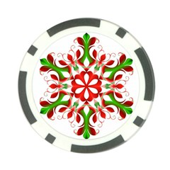 Red And Green Snowflake Poker Chip Card Guard (10 pack)
