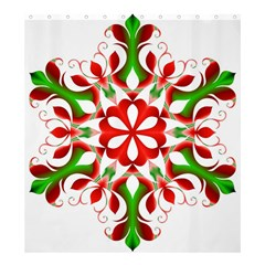 Red And Green Snowflake Shower Curtain 66  x 72  (Large)