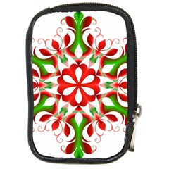 Red And Green Snowflake Compact Camera Cases