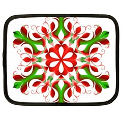 Red And Green Snowflake Netbook Case (xl)