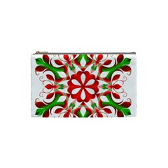 Red And Green Snowflake Cosmetic Bag (small)