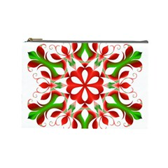 Red And Green Snowflake Cosmetic Bag (large)