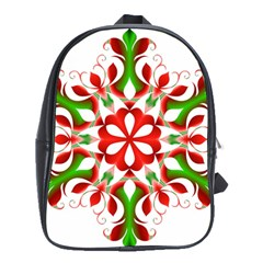 Red And Green Snowflake School Bags(large)