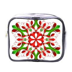 Red And Green Snowflake Mini Toiletries Bags