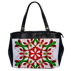 Red And Green Snowflake Office Handbags