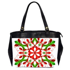 Red And Green Snowflake Office Handbags (2 Sides)