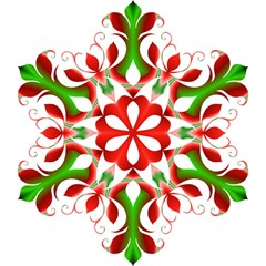 Red And Green Snowflake Magic Photo Cubes