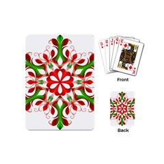 Red And Green Snowflake Playing Cards (mini)