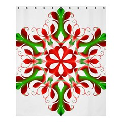 Red And Green Snowflake Shower Curtain 60  X 72  (medium)