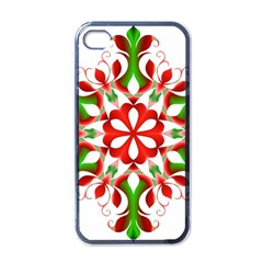 Red And Green Snowflake Apple Iphone 4 Case (black)