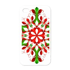 Red And Green Snowflake Apple iPhone 4 Case (White)