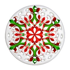 Red And Green Snowflake Ornament (Round Filigree)