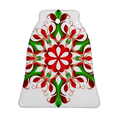 Red And Green Snowflake Ornament (Bell)
