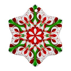 Red And Green Snowflake Snowflake Ornament (Two Sides)