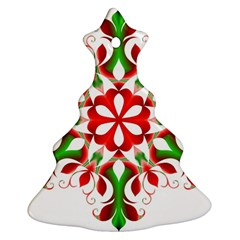 Red And Green Snowflake Christmas Tree Ornament (Two Sides)