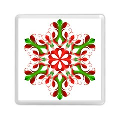 Red And Green Snowflake Memory Card Reader (Square)