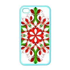 Red And Green Snowflake Apple Iphone 4 Case (color)