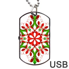 Red And Green Snowflake Dog Tag Usb Flash (one Side)