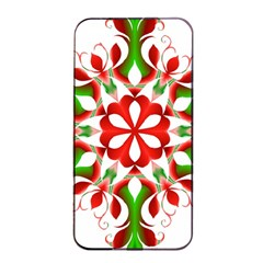 Red And Green Snowflake Apple Iphone 4/4s Seamless Case (black)