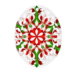 Red And Green Snowflake Oval Filigree Ornament (two Sides)
