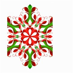 Red And Green Snowflake Small Garden Flag (two Sides)