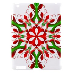 Red And Green Snowflake Apple iPad 3/4 Hardshell Case (Compatible with Smart Cover)