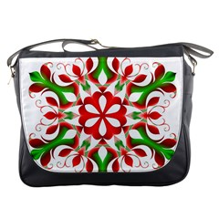 Red And Green Snowflake Messenger Bags