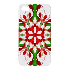 Red And Green Snowflake Apple Iphone 4/4s Premium Hardshell Case
