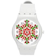 Red And Green Snowflake Round Plastic Sport Watch (m)