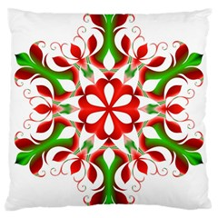 Red And Green Snowflake Large Cushion Case (one Side)