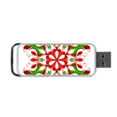 Red And Green Snowflake Portable Usb Flash (one Side)