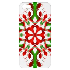 Red And Green Snowflake Apple Iphone 5 Hardshell Case