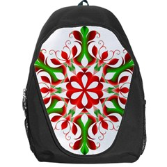 Red And Green Snowflake Backpack Bag