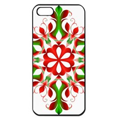 Red And Green Snowflake Apple Iphone 5 Seamless Case (black)